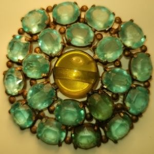 Vintage Glass Round Light Green 1940 Style Brooch